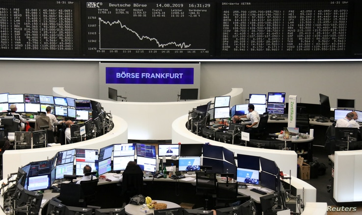 The German share price index DAX graph is pictured at the stock exchange in Frankfurt, Germany, August 14, 2019.