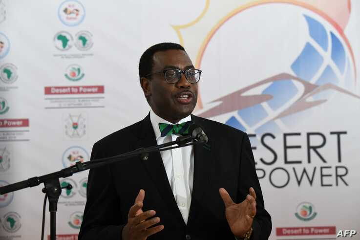 FILE - African Development president Akinwumi Adesina gives a press conference in Ouagadougou, Sept. 13, 2019.