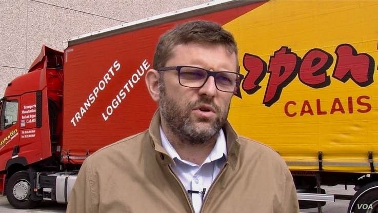 Carpentier transport director Arnauld Dequidt says the trucking company will adapt to Brexit, it has to. (L. Bryant/VOA)