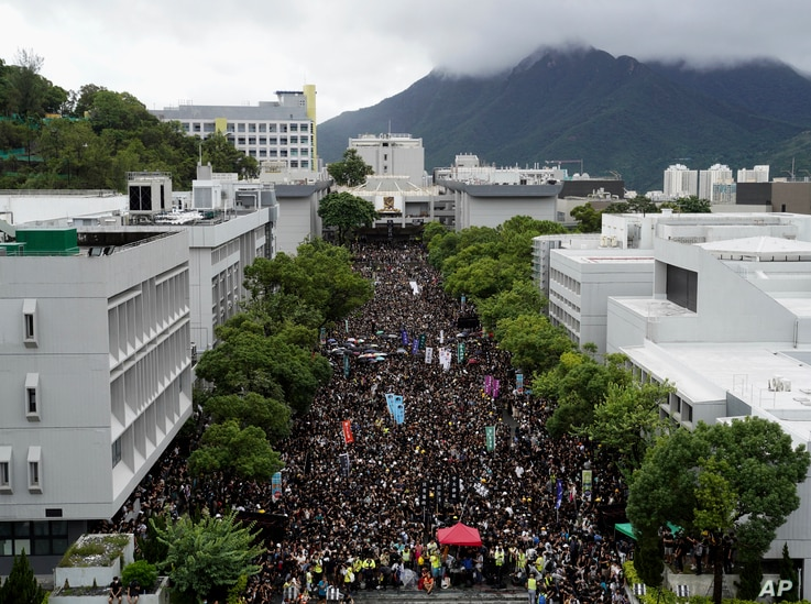 Thousands of students gather during a strike on the first day of school at the Chinese University in Hong Kong, Sept. 2, 2019.