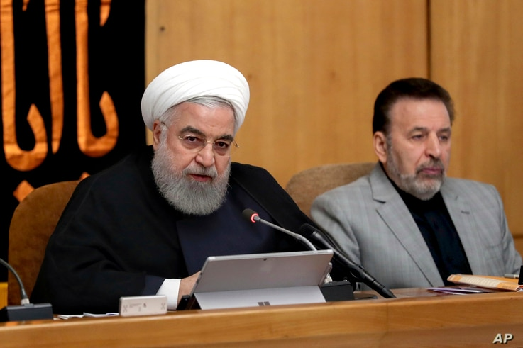 In this photo released by the office of the Iranian Presidency, President Hassan Rouhani speaks in a cabinet meeting in Tehran, Iran, Sept. 4, 2019.