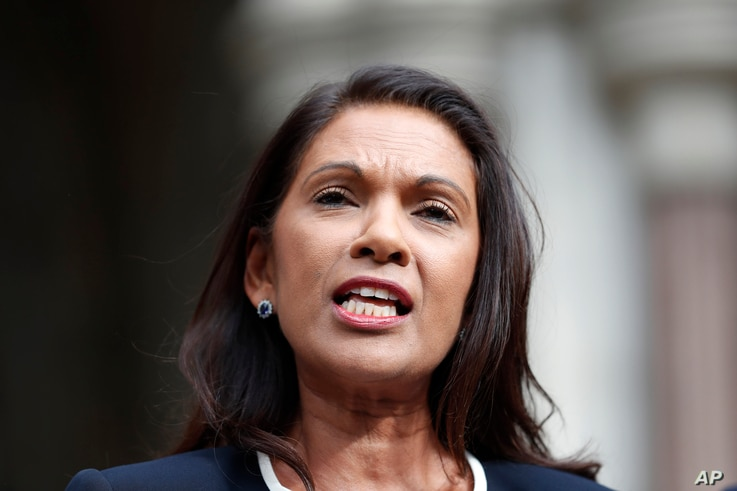Anti Brexit campaigner Gina Miller speaks to the media outside the High Court in London, Sept. 6, 2019. The High Court  has rejected a claim that Prime Minister Boris Johnson is acting unlawfully.