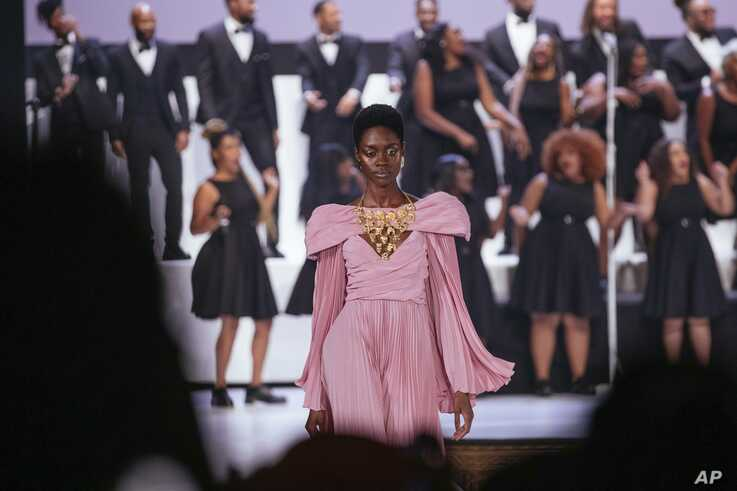 The Pyer Moss collection is modeled during Fashion Week, Sunday, Sept. 8, 2019 in New York.