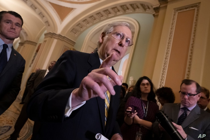 Senate Majority Leader Mitch McConnell, R-Ky., speaks to reporters during a news conference at the Capitol in Washington, Sept. 17, 2019.