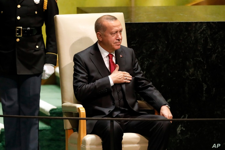 Turkey's President Recep Tayyip Erdogan waits to address the 74th session of the United Nations General Assembly, Sept. 24, 2019.