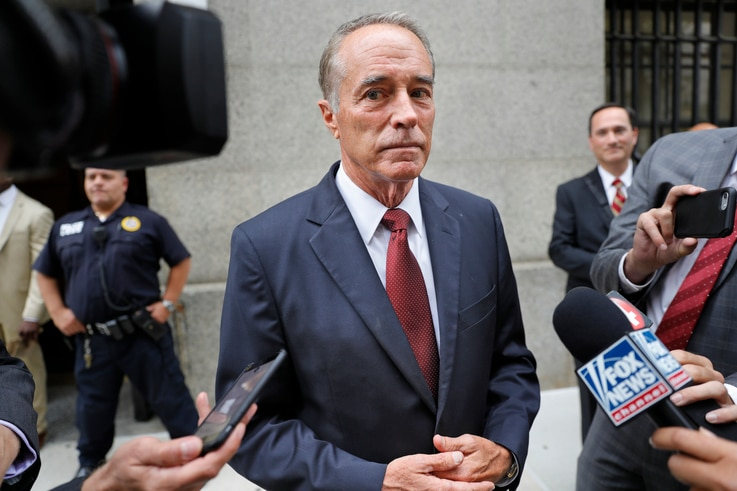 U.S. Rep. Chris Collins, R-N.Y., speaks to reporters as he leaves the courthouse after a pretrial hearing in his insider-trading case, in New York, Sept. 12, 2019.