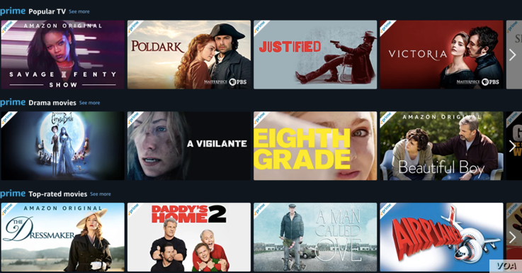 Amazon Prime Viewing Options Movies Shows