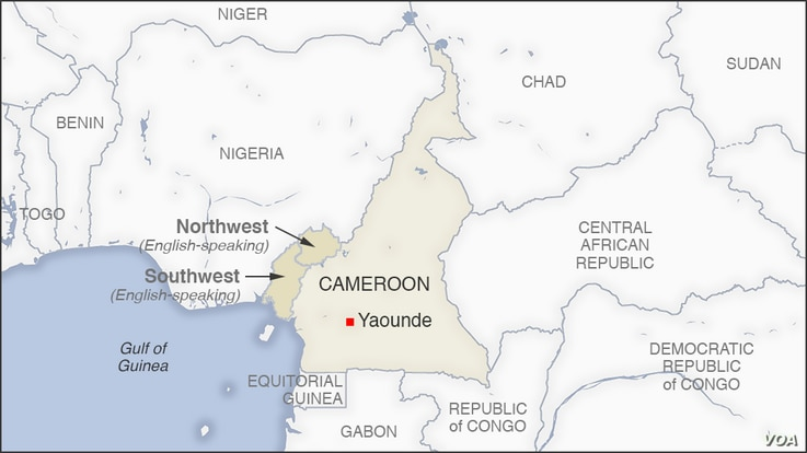 Map of Cameroon, showing English-speaking Northwest and Southwest areas