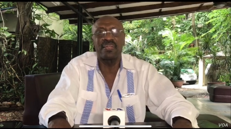 Line Balthazar, president of the PHTK ruling party. (R. Toussaint/VOA Creole)