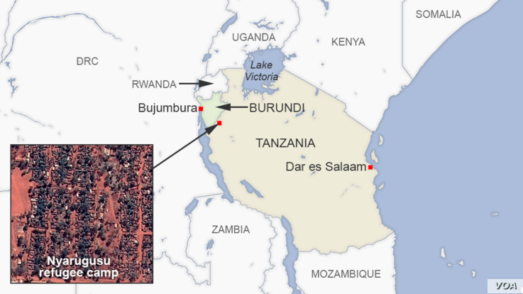 Map of Nyarugusu refugee camp Tanzania