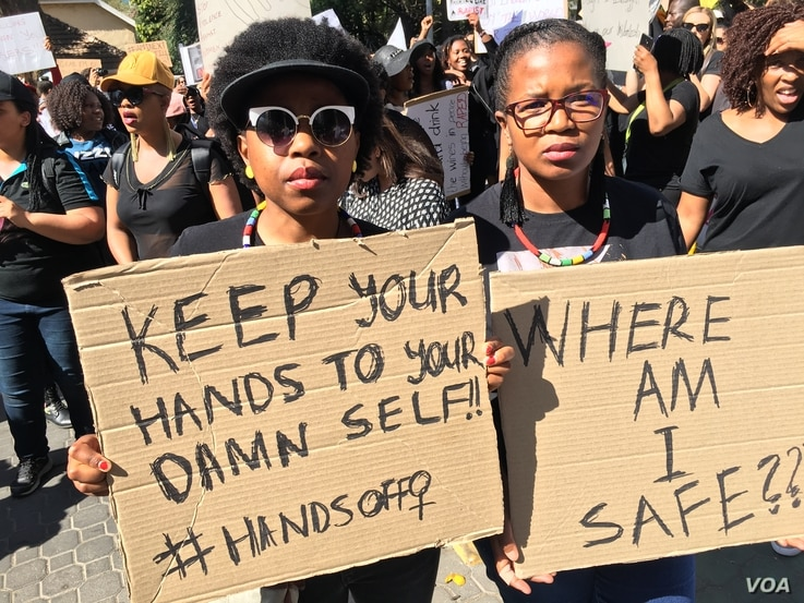 Two young protesters making their voice heard in Sandton, Johannesburg, Sept. 13, 2019. (VOA/T. Khumalo)