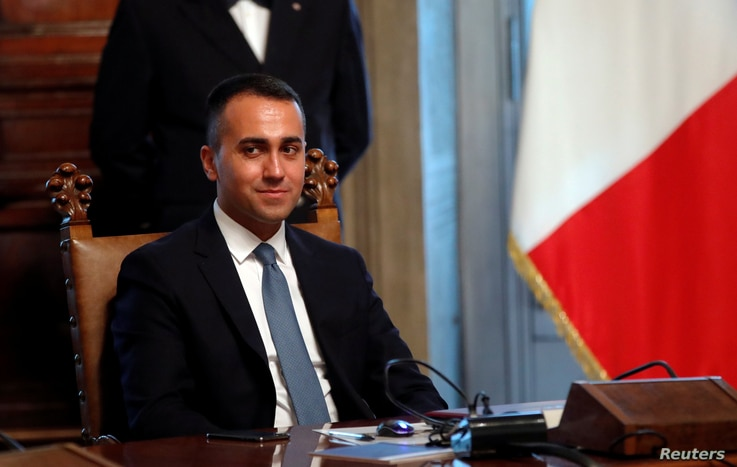 Italian Foreign Affairs Minister Luigi Di Maio attends the new cabinet's first meeting at Chigi Palace in Rome, Sept. 5, 2019.