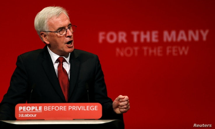 British Labour MP John McDonnell speaks during the Labour party annual conference in Brighton, Britain, Sept. 23, 2019.