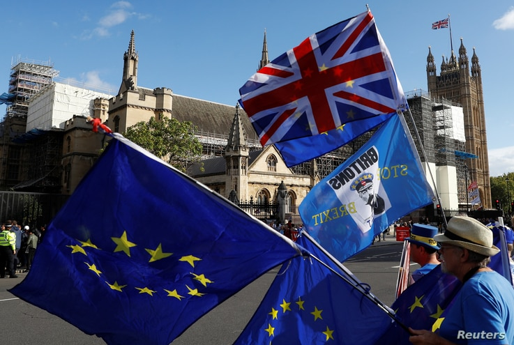 Anti-Brexit protesters hold flags outside the Houses of Parliament in London, Britain, Sept. 25, 2019.