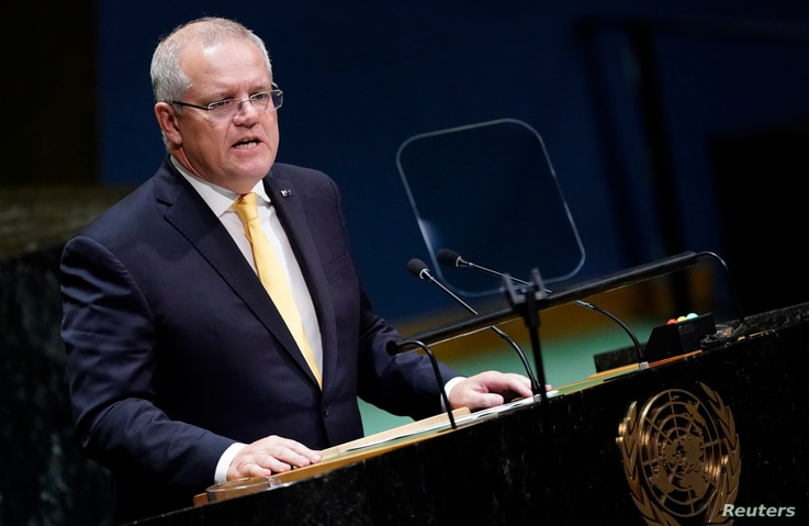 FILE - Australian Prime Minister Scott Morrison addresses the 74th session of the United Nations General Assembly at U.N. headquarters in New York City, New York, Sept. 25, 2019.