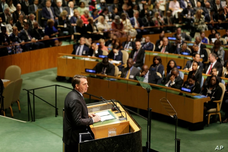 Brazilian President Jair Bolsonaro addresses the 74th session of the United Nations General Assembly at U.N. headquarters, in New York, Sept. 24, 2019.