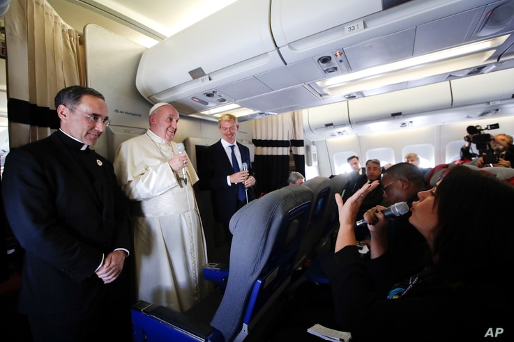 Pope Francis listens to reporters questions during his flight from Antamanarivo to Rome, Sept. 10, 2019, after his seven-day pastoral trip to Mozambique, Madagascar, and Mauritius.