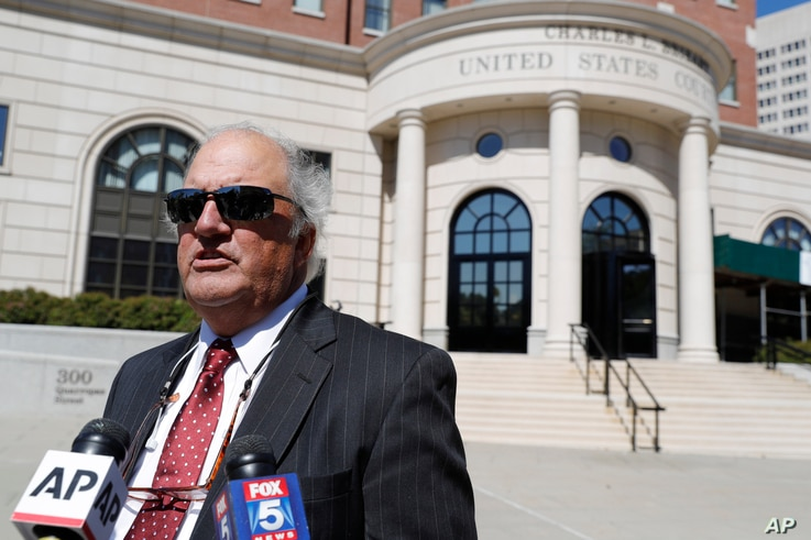 Attorney Joe Rice, who represents a group of plaintiffs in the Purdue Pharma bankruptcy, speak to reporters in White Plains, N.Y., Sept. 17, 2019.