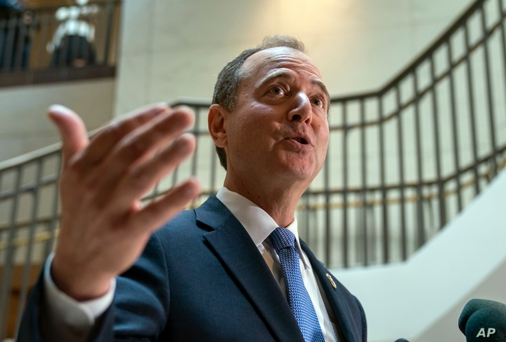 House Intelligence Committee Chairman Adam Schiff, a Democrat, speaks to reporters after the panel met behind closed doors about a whistleblower complaint, at the Capitol in Washington, Sept. 19, 2019.