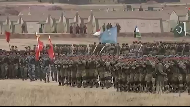 Pakistani and other troops stand in formation during joint military exercises of the Shanghai Cooperation Organization (SCO) in Russia's Orenburg region, in an image from video released by Pakistan Army's media wing ISPR.