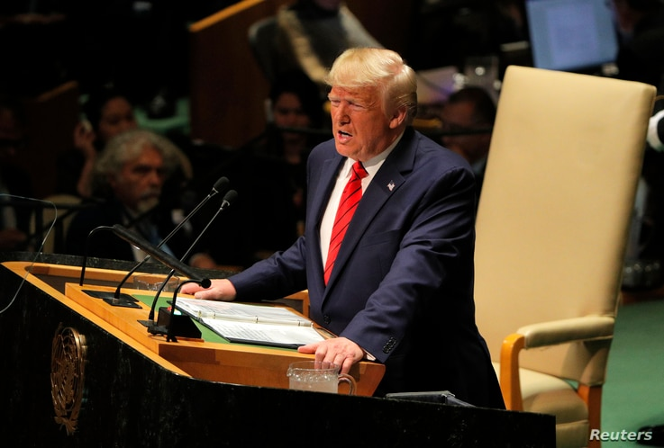 U.S. President Donald Trump addresses the 74th session of the United Nations General Assembly at U.N. headquarters in New York City, Sept. 24, 2019.