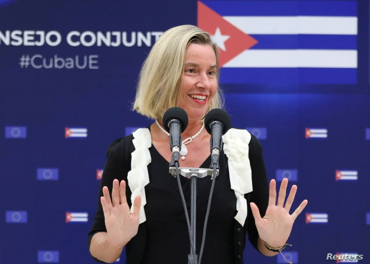 European Union Foreign Policy Chief Federica Mogherini speaks during a joint news conference with Cuba's Foreign Minister Bruno Rodriguez (not pictured) in Havana, Cuba, Sept. 9, 2019.