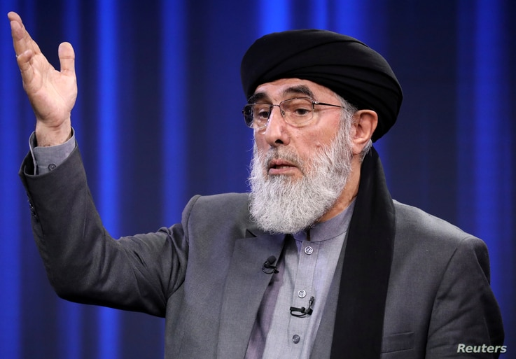 Former Afghan warlord and presidential candidate Gulbuddin Hekmatyar speaks during the presidential election debate at TOLO TV studio in Kabul, Sept. 25, 2019.