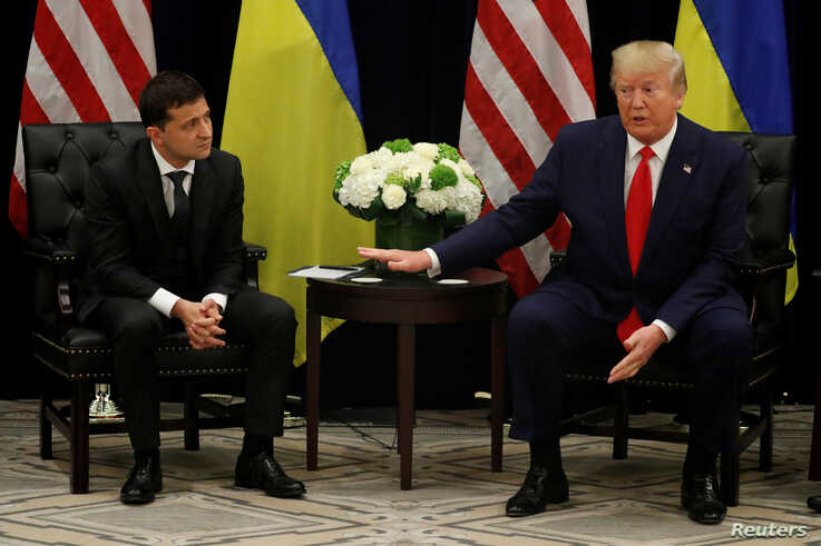 U.S. President Donald Trump speaks during a bilateral meeting with Ukraine's President Volodymyr Zelenskiy on the sidelines of the 74th session of the U.N. General Assembly in New York, Sept. 25, 2019.