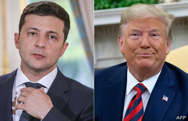 (COMBO) This combination of pictures created on September 24, 2019 showsUkraine's President Volodymyr Zelensky in June 17,…