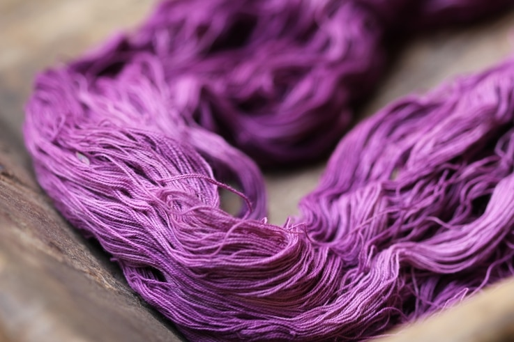 Cotton yarn dyed with tixinda extracted from snails. (True Colors by Keith Recker)