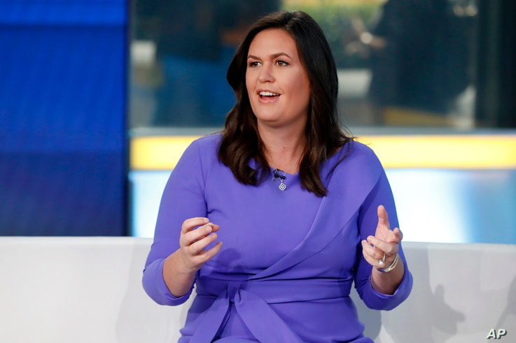 """Fox News contributor Sarah Huckabee Sanders makes her first appearance on the """"Fox & Friends"""" television program in New York,…"""