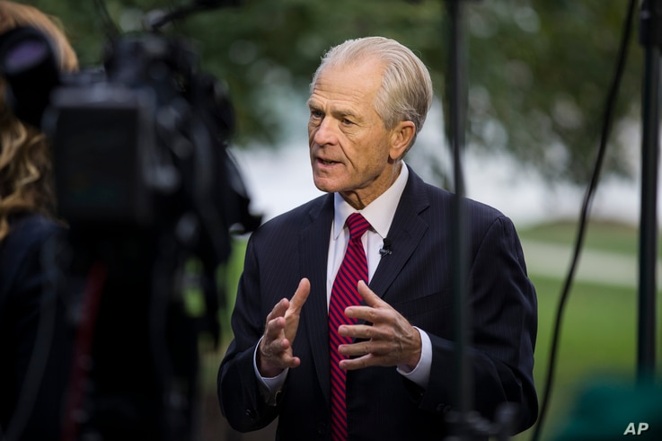 White House trade adviser Peter Navarro speaks during a television interview at the White House, Tuesday, Oct. 8, 2019, in…