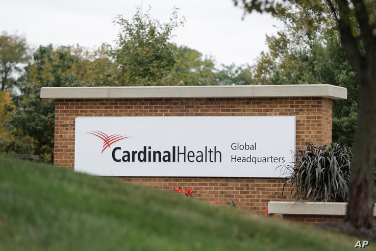 FILE - A sign is displayed at the Cardinal Health, Inc. corporate office in Dublin, Ohio, Oct. 16, 2019. Negotiations aimed at reaching a major settlement in the nation's opioid litigation reached an impasse Friday, Oct. 18.