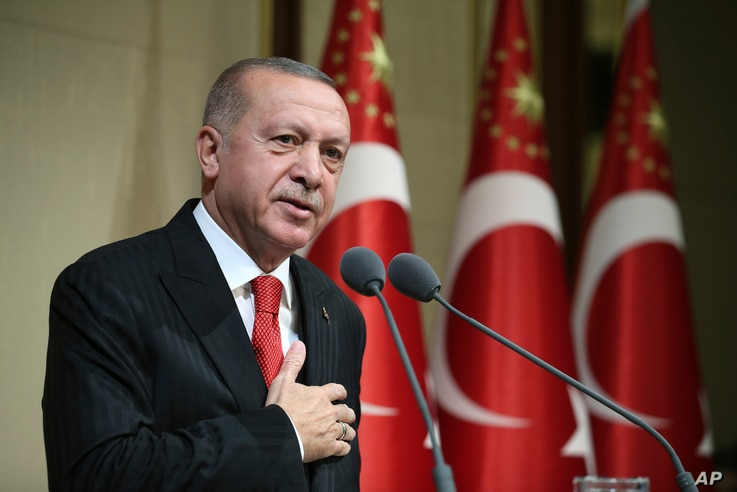 Turkish President Recep Tayyip Erdogan speaks during a reception on Republic Day, in Ankara, Turkey, Tuesday, Oct. 29, 2019…