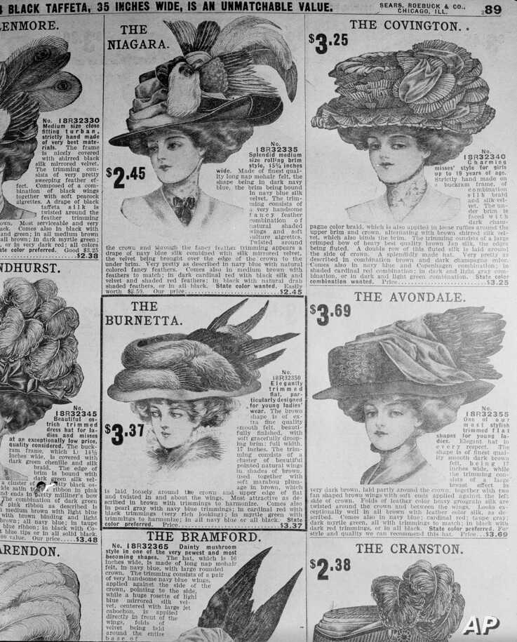 Women's hats are pictured in a 1907 Sears Roebuck catalog from the shelves of the Chicago Public Library, Aug. 26, 1948.