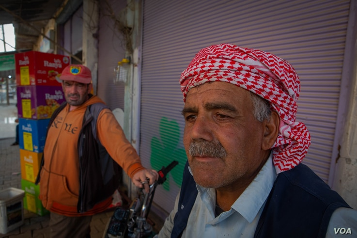 Abdulwakeel, a 51-year-old mason, says the dream of a self-governing Kurdish lead state has died amid recent battles, in Dirik, Syria, Oct. 23, 2019. (Yan Boechat/VOA)
