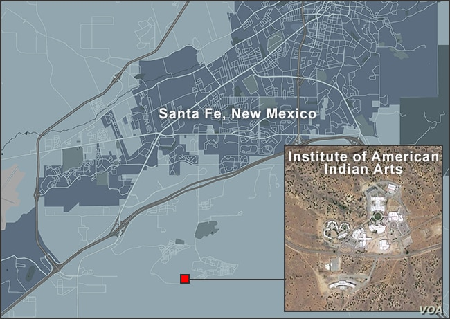 Map of Institute of American Indian Arts, Santa Fe, New Mexico