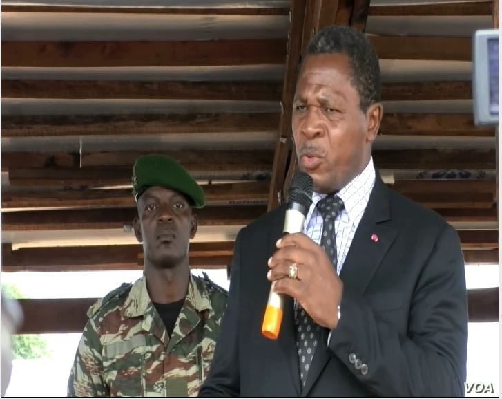 Cameroon's minister of territorial administration, Paul Atanga Nji, speaks in Garoua Boulai, Cameroon, Oct. 23, 2019. (Moki Edwin Kindzeka/VOA)