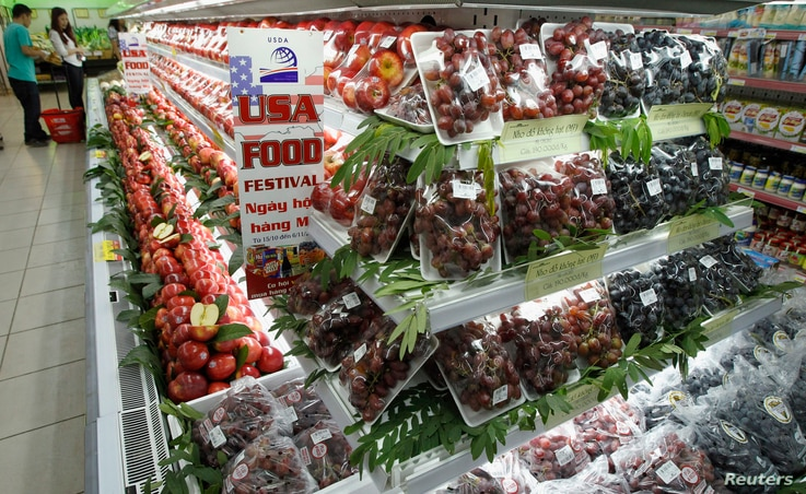 Imported American grapes and apples are on display at Fivimart supermarket in Hanoi October 23, 2012. REUTERS/Kham (VIETNAM -…