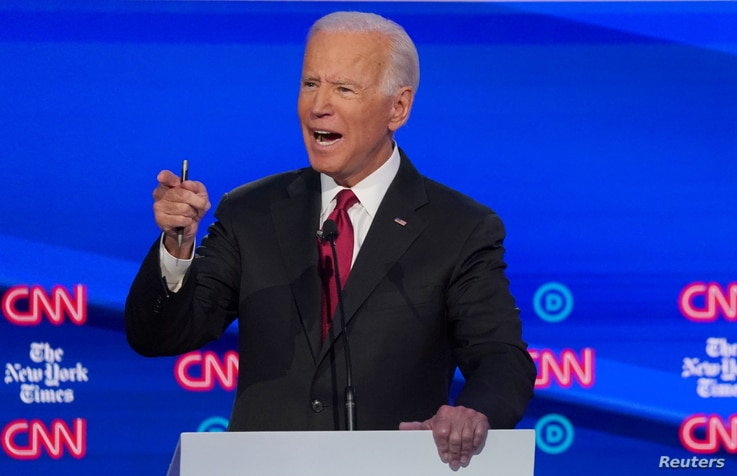 FILE PHOTO: Democratic presidential candidate and former Vice President Joe Biden speaks during the fourth U.S. Democratic…