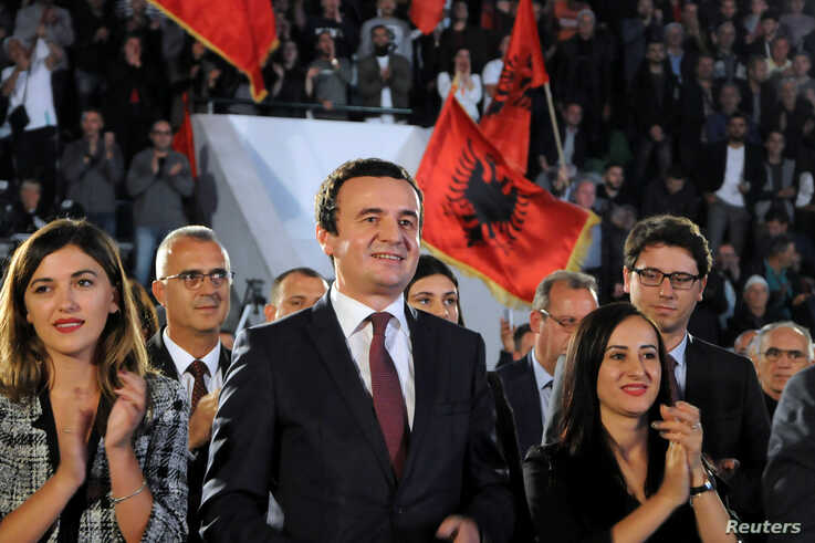 Albin Kurti, leader of the Self-Determination movement (Vetevendosje), attends a campaign rally in Mitrovica, Kosovo, Sept. 25, 2019.