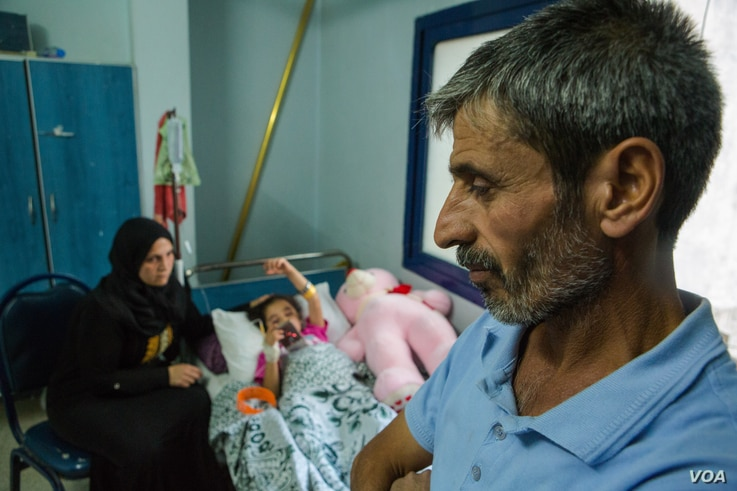 """""""One day everything changed,"""" says Sara's father, Youseff, who also lost his 13-year-old son Mohammed in the conflict in northeastern Syria. Oct. 15, 2019. (Y. Boechat/VOA)"""