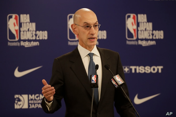 NBA Commissioner Adam Silver speaks at a news conference before an NBA preseason basketball game between the Houston Rockets and the Toronto Raptors, in Saitama, near Tokyo, Japan, Oct. 8, 2019.