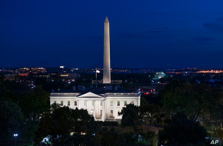 The White House and the Washington Monument are seen in Washington, Oct. 21, 2019, as House Democrats continue their impeachment investigation of President Donald Trump.