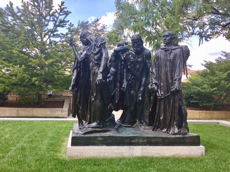 The Burghers of Calais by 19 century Frensh artist Auguste Rodin sits in the Hirshhorn Museum and Sculpture Garden in…