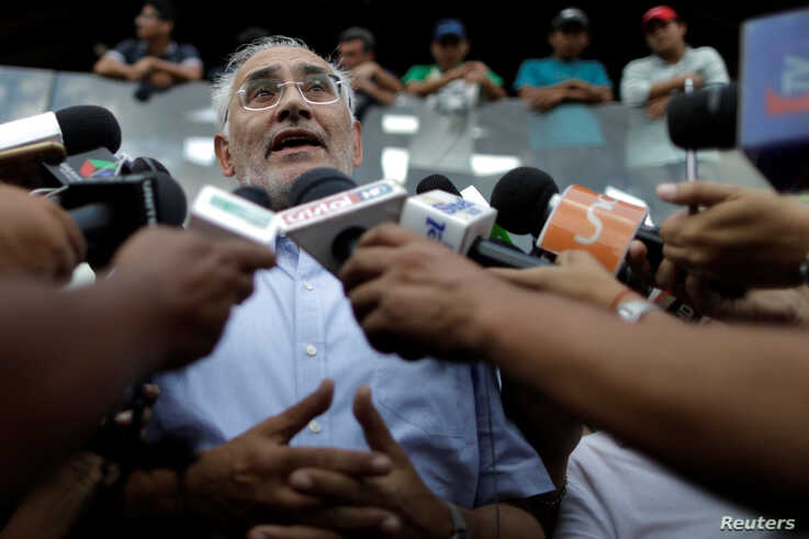 Bolivian former president and presidential candidate Carlos Mesa attends a news conference in Santa Cruz, Bolivia, Oct. 29, 2019.