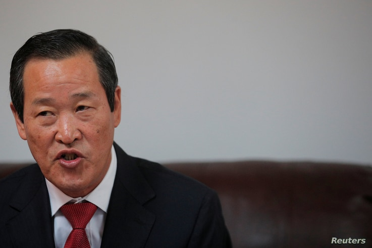 North Korean ambassador to the United Nations Kim Song speaks during a news conference in New York, Oct 7, 2019.