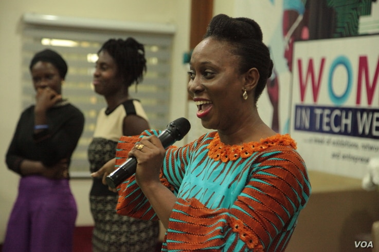 Women In Tech Africa founder Ethel Cofie speaks at the opening of the annual Women in Tech event in Accra. (S. Knott/VOA)