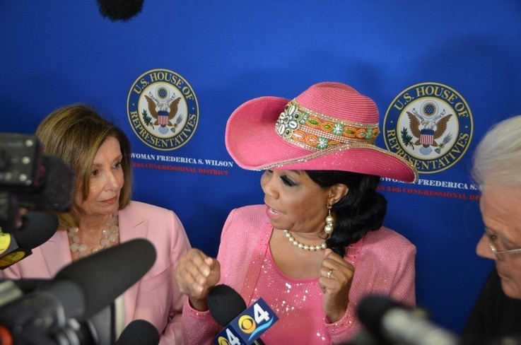 Congresswoman Frederica Wilson and House Speaker Nancy Pelosi talk to reporters after the round table discussion on Haiti in Miami, Fla, Oct. 3, 2019. (Photo: @RepWilson Twitter)