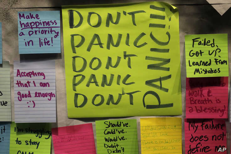 This Nov. 14, 2019, photo shows notes attached to the Resilience Project board on the campus of Utah Valley University in Orem,…